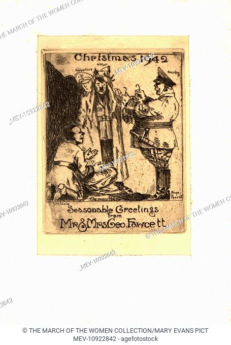 WW2 Christmas card, satirical cartoon showing Hitler being dressed up (unconvincingly) as Father Christmas by Goering, Goebbels and Ribbentrop