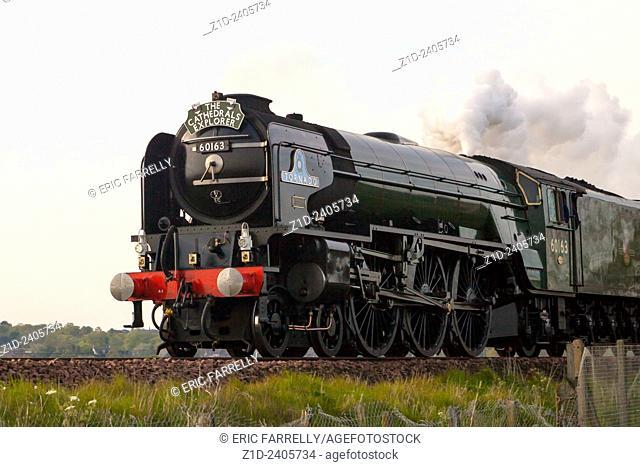 Steam Engine Tornado passing through Montrose Scotland UK