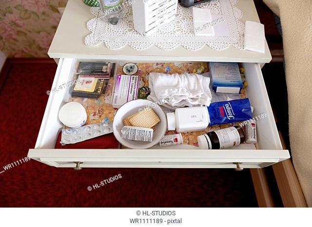 Medicine in nightstand drawer