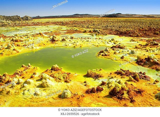 Sulfuric acid pond Dallol is a volcanic, danakil depression, ethiopia