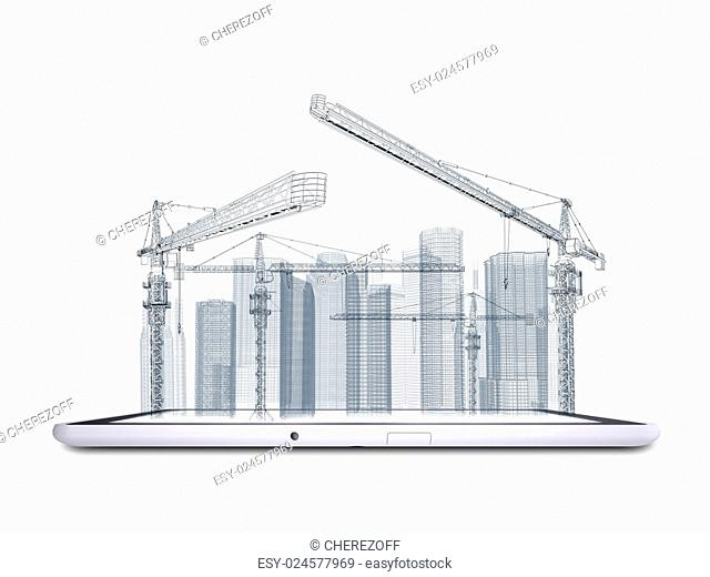 Wire frame tower crane and skyscrapers on the tablet pc. White background