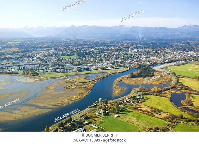 An aerial view of the Comox Estuary, Puntledge River and the city of Courtenay, Comox Valley, Vancouver Island, British Columbia, Canada