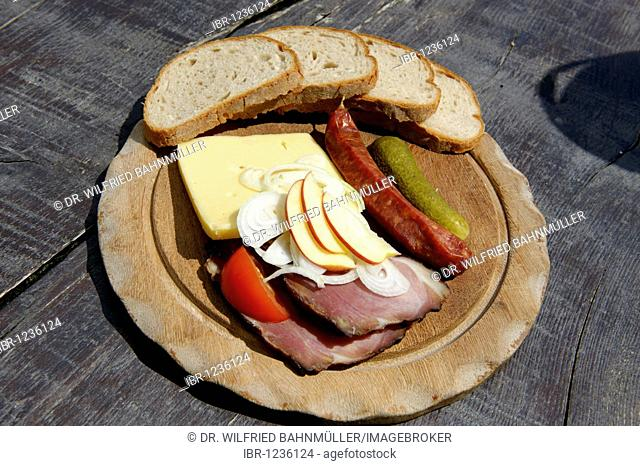 Plate with Schwarzwaelder Schinken ham, Kaminwurzn, cheese, typical Black Forest light meal, Baden-Wuerttemberg, Germany, Europe