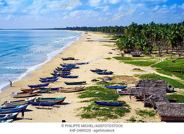 Sri Lanka, Ceylon, Eastern Province, East Coast, Passekudah, Kalkudah beach, aerial view