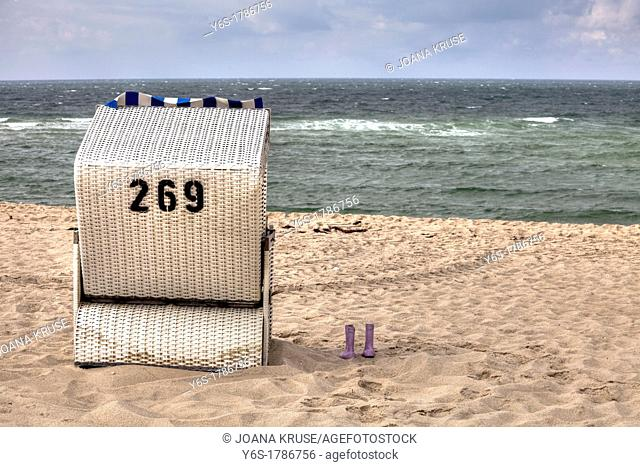 Beach chair, rubber boots, Sylt, Schleswig-Holstein, Germany