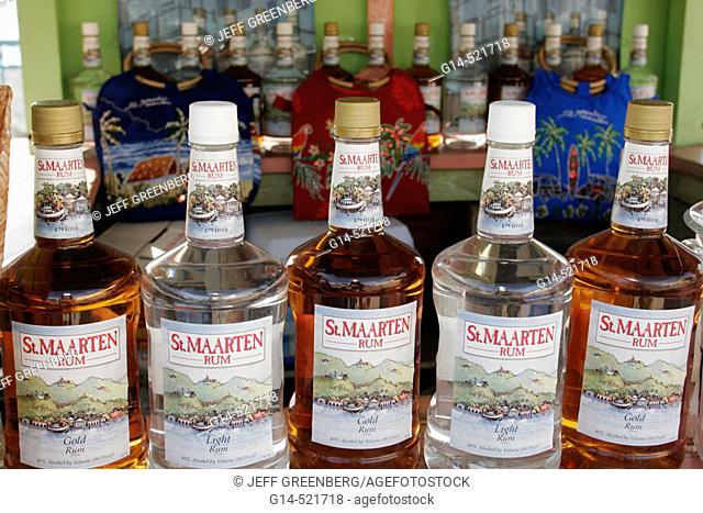 Bottles, rum, alcohol, duty free. Philipsburg. Great Bay. Sint Maarten