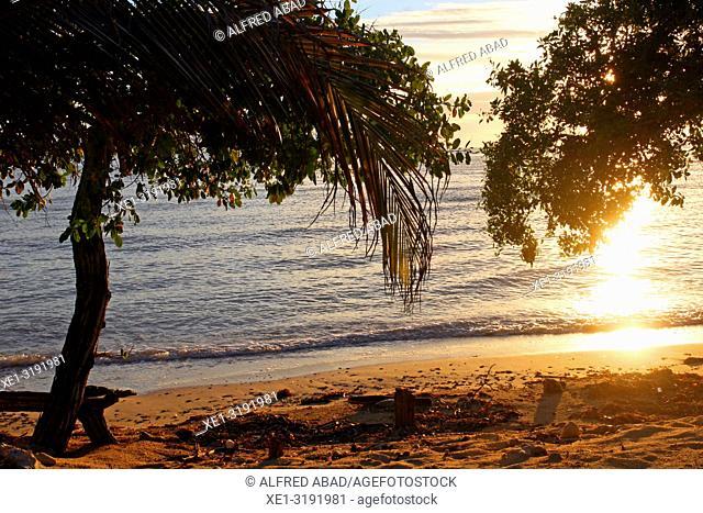 sunset on the beach, Baru Peninsula, Caribbean Sea, Colombia