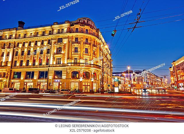 Corner of Mokhovaya and Tverskaya streets at night. Moscow, Russia
