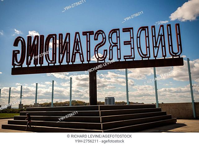 The rotating ''Understanding'' public art sculpture in Brooklyn Bridge Park in New York. ''Understanding'' by the artist Martin Creed features a 25 foot tall...