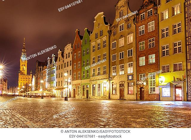 Long Market street in Gdansk, view on the Town Hall and the colourful facades, evening lights, no people