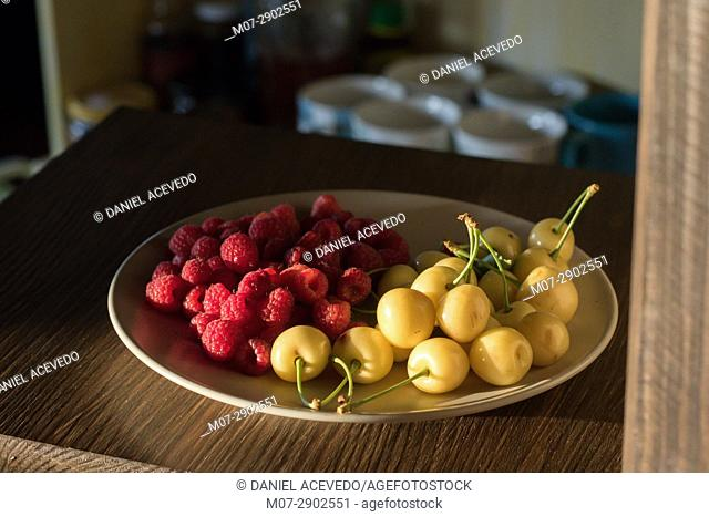 Raspberries & white cherries still life work