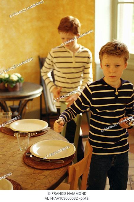 Children setting table