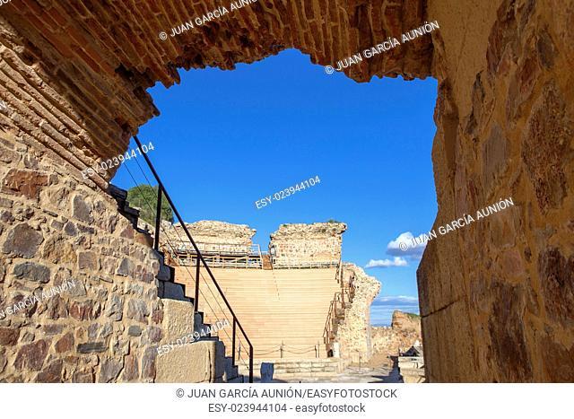 Roman theatre of Medellin, Spain. Side Arch entry