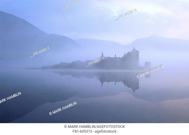 Kilchurn Castle and Loch Awe at dawn. Argyll. Scotland