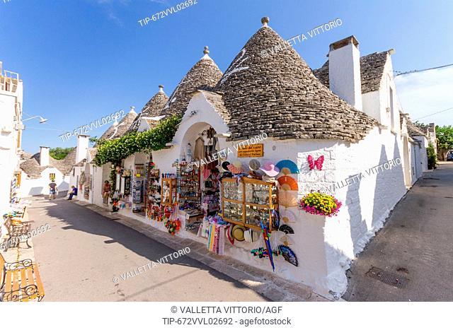 Italy. Apulia. Alberobello, trulli, typical houses