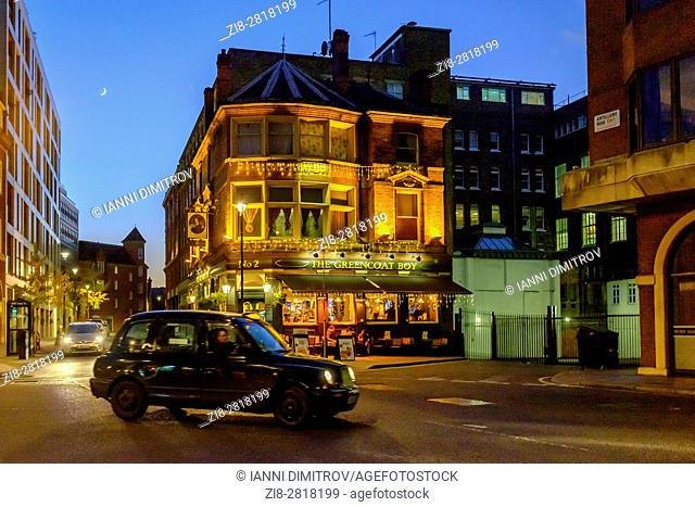 London,England.The Greencoat Boy Public House on Artilery Row at night