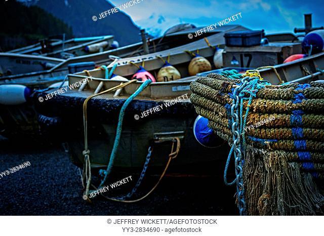 Marlinspike on bow of idle purse seiner skiff near Sitka, Alaska, USA