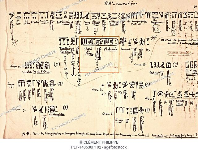 Notes by Jean-François Champollion, decipherer of the Egyptian hieroglyphs, about the inscriptions on the Rosetta Stone