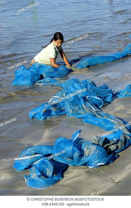 Myanmar, Rakhine State, Ngapali surroundings, Lon Tha beach, Woman washing a net