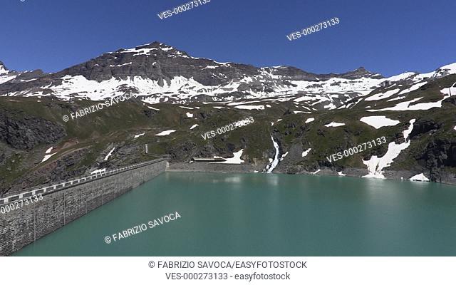 Goillet dam and Mount Cervino or Matterhorn, Aosta Valley, Italy