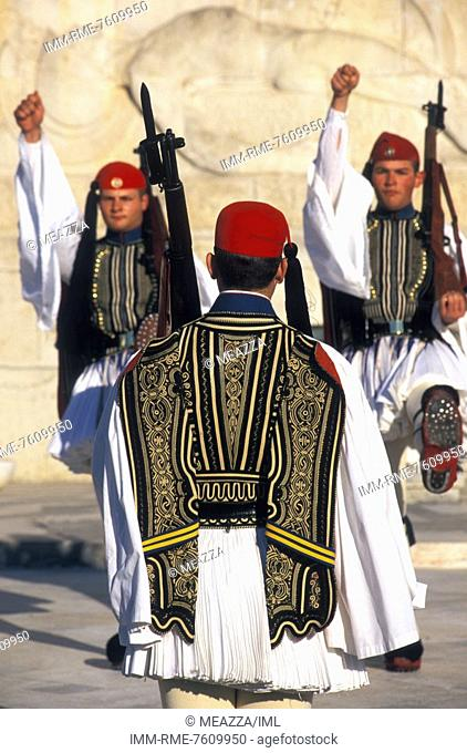 Changing of the guards evzones in front of the Greek Parliament building in Syntagma square  Athens, Attica, Greece