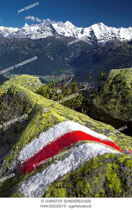 Wanderwegmarkierung auf dem Niederhorn
