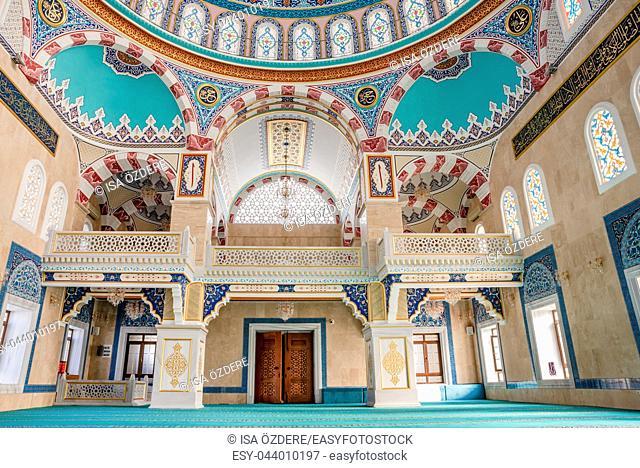 Interior view of Center Isabey Mosque in Bursa,Turkey. 20 May 2018