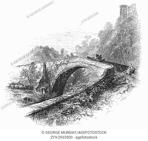 1870: A horseman crossing the medieval Twizell bridge built in 1511, two years before the Battle of Flodden, provided the only dry crossing of the River Till...