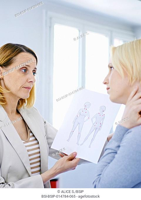Female patient suffering from fibromyalgia