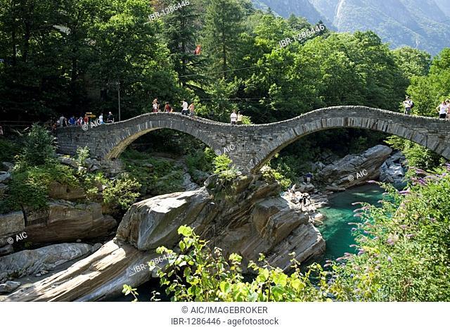 Roman bridge Ponte dei Salti in Lavertezzo, Ticino, Switzerland, Europe