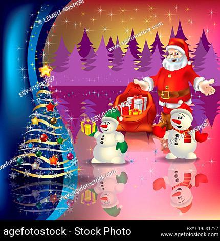 greeting with Santa and Christmas tree