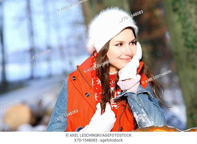 portrait woman winter landscape
