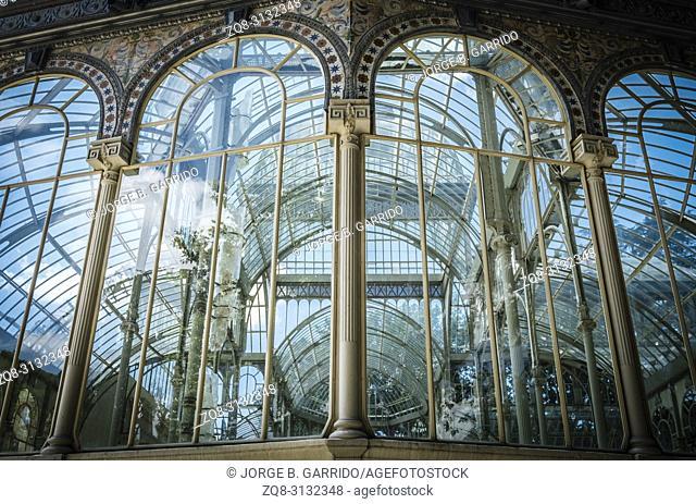 Crystal Palace (Palacio de Cristal) in Buen Park del Retiro (Parque de El Retiro) in Madrid, Spain
