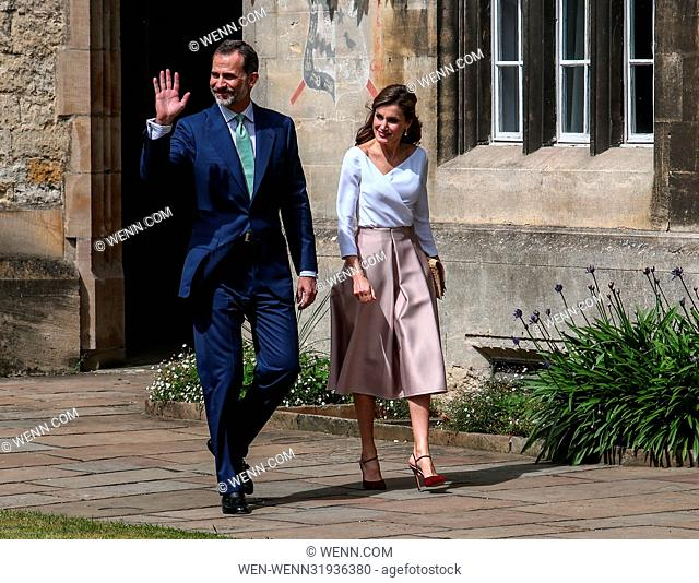King Felipe VI and Queen Letizia visit Exeter College, part of Oxford University during their State Visit. Featuring: King Felipe VI