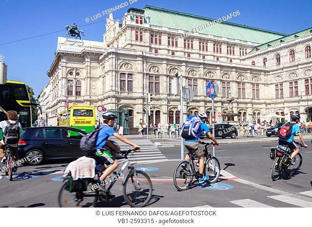 Vienna State Opera building street scene. Vienna, Austria
