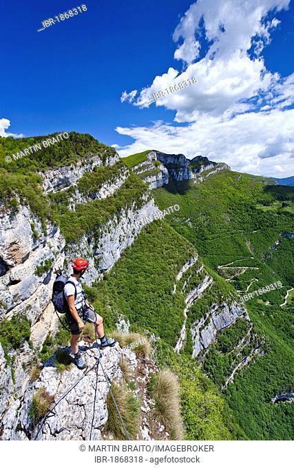 Gerardo Sega fixed rope route on Monte Baldo above Avio, Lake Garda mountains, province of Trento, Italy, Europe