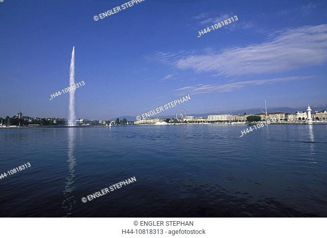 Geneva, town, city, Genevese bay, jet, Jet d'Eau, fountain, Lake Geneva, lake of Geneva, Lac Leman, Switzerland, Europ
