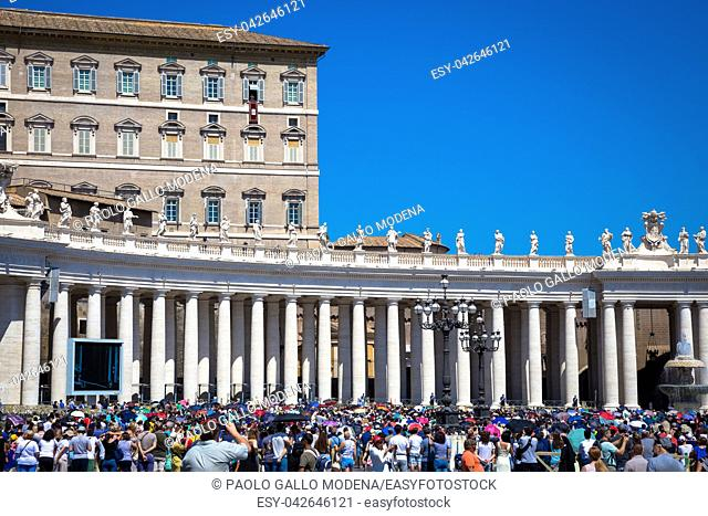 ROME, VATICAN STATE - AUGUST 19, 2018: Pope Francis on Sunday during the Angelus prayer in Saint Peter Square