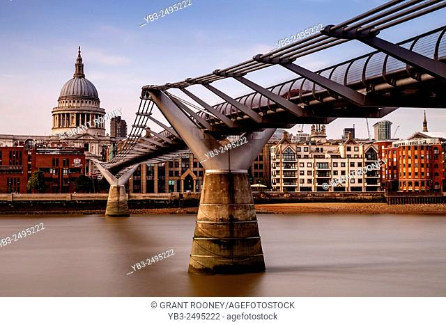 The Millennium Bridge and St Paul's Cathedral, London, England