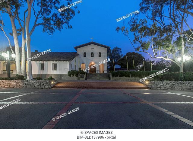 Mission San Luis Obispo overlooking parking lot, San Luis Obispo, California, United States