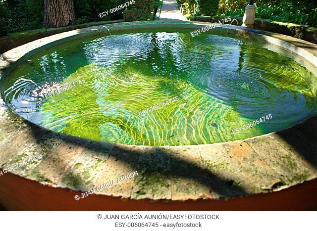 Fountain vase in the gardens of Real Alcazar, Cordoba