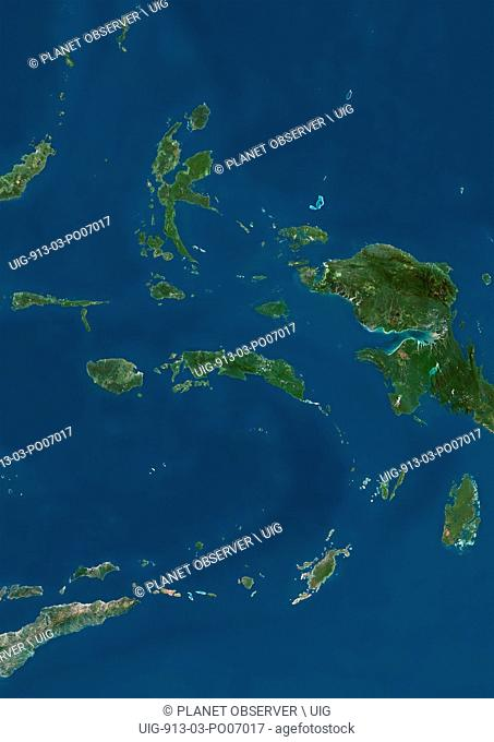 Satellite view of the Maluku Islands, Indonesia. This image was compiled from data acquired by Landsat satellites
