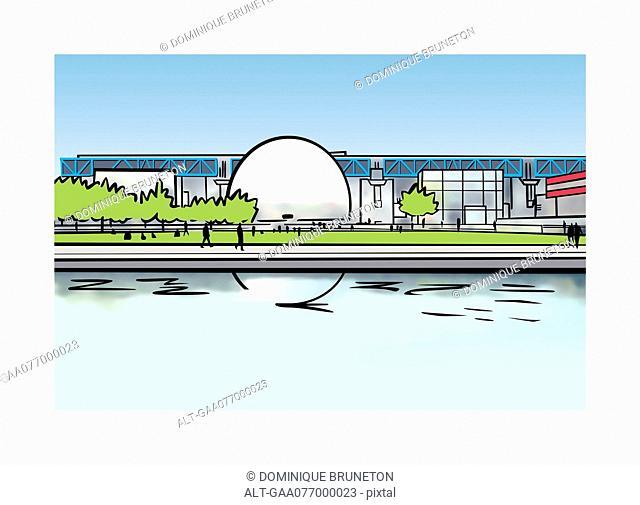 Illustration of Cité des Sciences et de l'Industrie in Paris, France