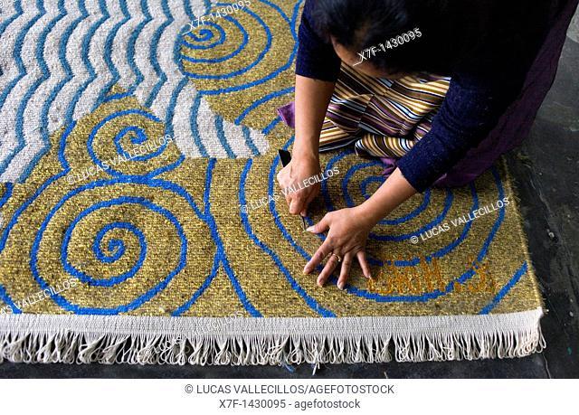 Workshop of Tibetan handicrafts Centre Carpets McLeod Ganj, Dharamsala, Himachal Pradesh state, India, Asia