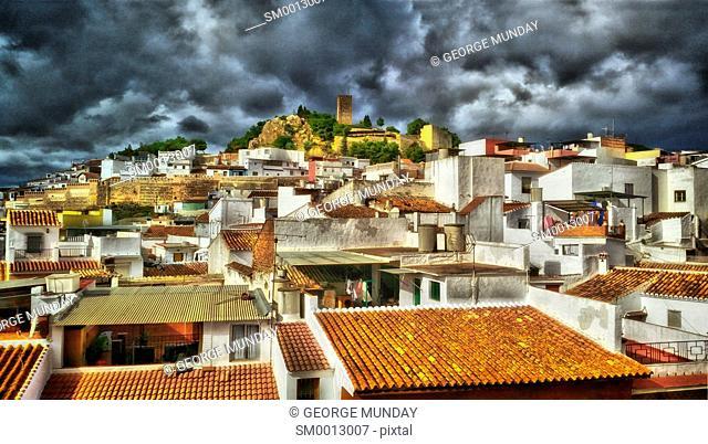 The 13th Century Moorish Castle tower obove the rooftops,. Vélez-Málaga, the capital of the Axarquía comarca in the province of Málaga
