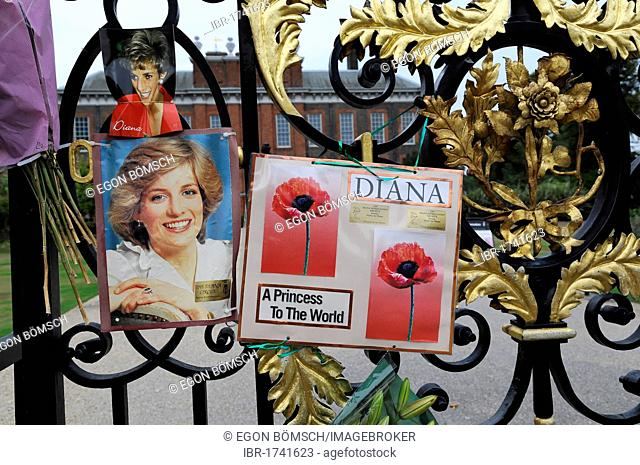 Pictures in dedication to Princess Diana who died in 1997, entrance gate, Kensington Palace, London, England, United Kingdom, Europe