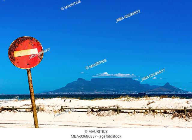 South Africa, Cape Town, Table Mountain, rusted sign
