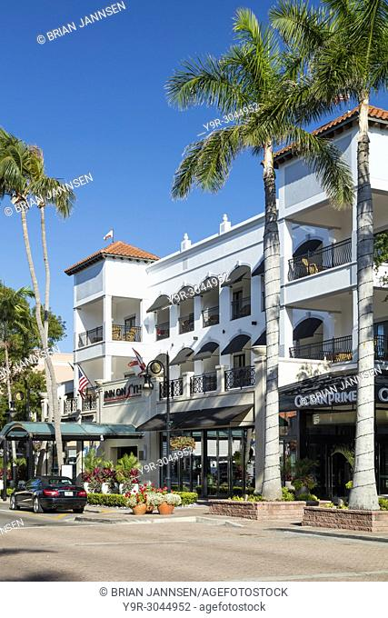 Inn on 5th, Hotel and retail businesses along 5th Avenue, Naples, Florida, USA