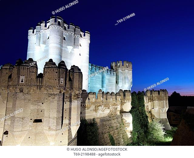 Night view of Coca Castle. Segovia. Spain