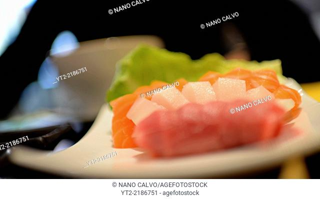 Tuna and salmon sashimi